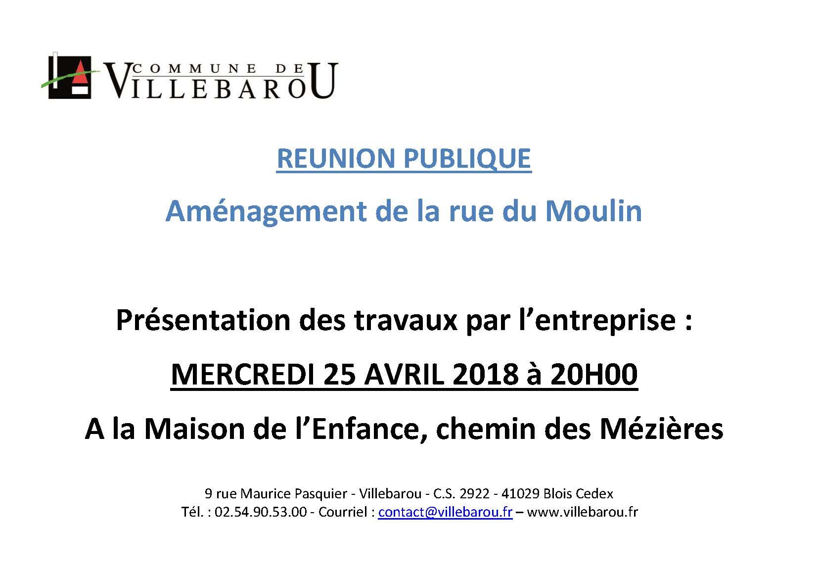 """Réunion publique """"Aménagement de la rue du Moulin"""""""