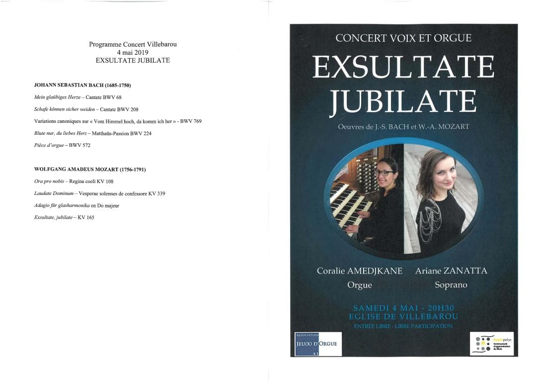 Concert Exsultate et jubilate (Voix et orgue)