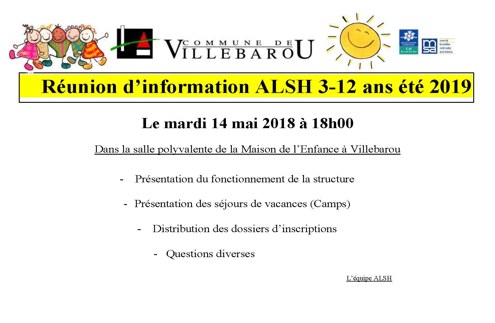 ALSH - Réunion d'information été 2019