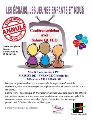 """Annulation Conférence-débat : """"Les écrans, les jeunes enfants et nous"""""""